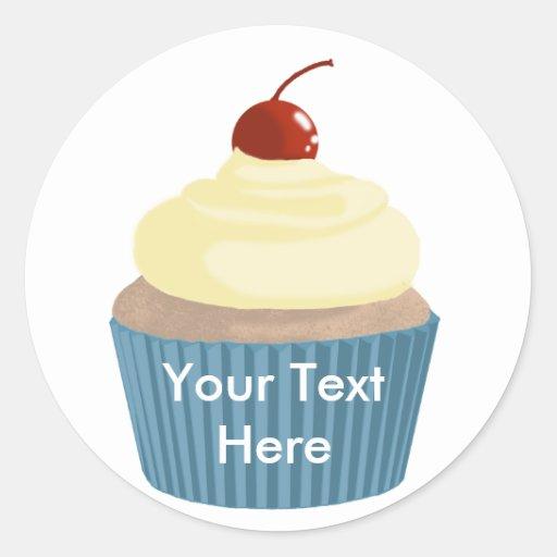 Cupcake-Yellow and Blue Round Sticker