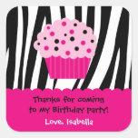 Cupcake Zebra Print Birthday Party Favor Stickers