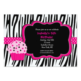 Cupcake Zebra Print Birthday Party Invitations