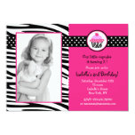 Cupcake Zebra Print Photo Birthday Invitations