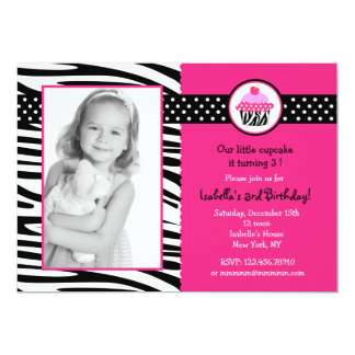 Cupcake Zebra Print Photo Birthday Invitations