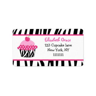 Cupcake Zebra Print Return Address Labels