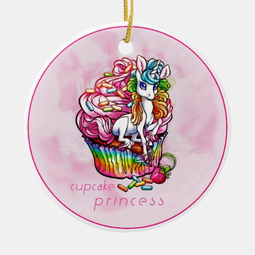 cupcakeprincess.jpg adorno navideño redondo de cerámica