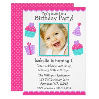 Cupcakes 1st Birthday Girl Photo Invitation