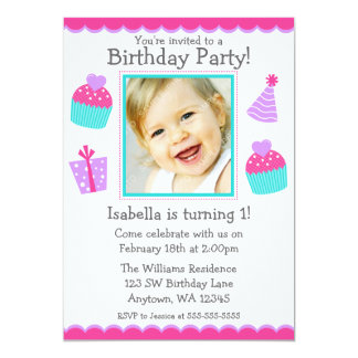 "Cupcakes 1st Birthday Girl Photo Invitation 5"" X 7"" Invitation Card"
