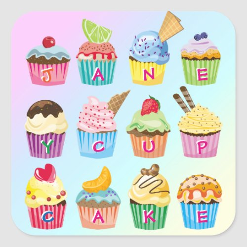 Cupcakes Add Your Name Monogram Delicious Treats Square Sticker