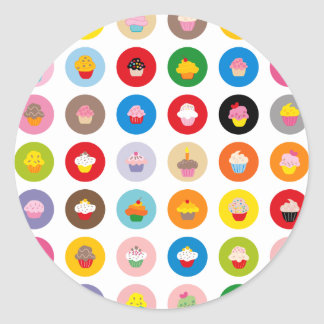 Cupcakes All Classic Round Sticker