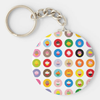 Cupcakes All Basic Round Button Keychain