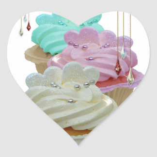 Cupcakes and beads heart sticker