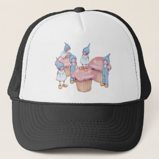 Cupcakes and Gnomes, Pink Icing, Art Trucker Hat