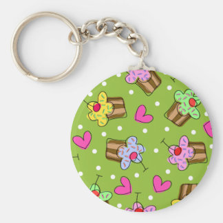 Cupcakes and Hearts Basic Round Button Keychain