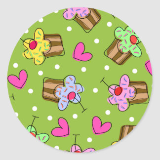Cupcakes and Hearts Classic Round Sticker
