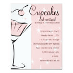 """Cupcakes and Martinis 4.25"""" X 5.5"""" Invitation Card"""