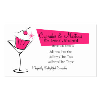 Cupcakes and Martinis in Hot Pink Double-Sided Standard Business Cards (Pack Of 100)