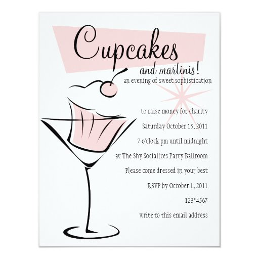 """Cupcakes and Martinis! 4.25"""" X 5.5"""" Invitation Card"""