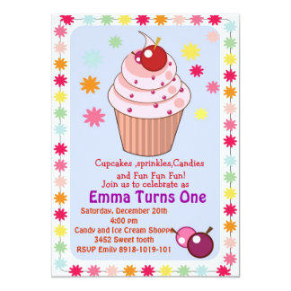 cupcakes and sprinkles birthday party invitation