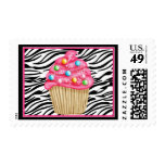 Cupcakes and Zebra Print Postage Stamp