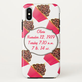 Cupcakes Baby Girl Birth Stats Birth Record iPhone X Case