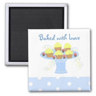 Cupcakes Baked with Love 2 Inch Square Magnet