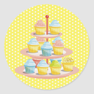 Cupcakes Bakery Pastry Shop Business Round Stickers