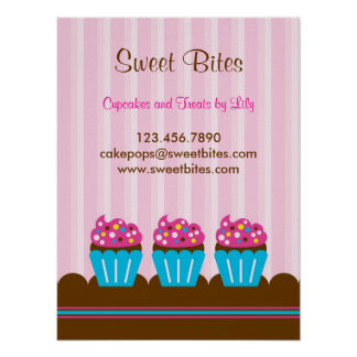 Bakery Cupcake Business Posters | Zazzle