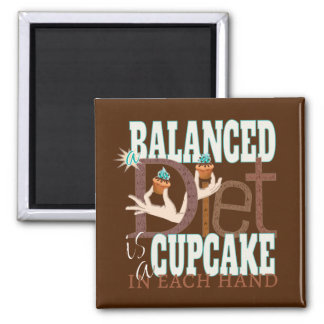 Cupcakes Balanced Diet - Healthy Eating Humor 2 Inch Square Magnet