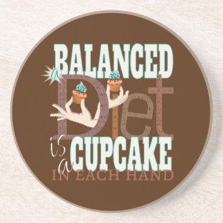 Cupcakes Balanced Diet - Healthy Eating Humor Coaster
