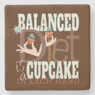 Cupcakes Balanced Diet - Healthy Eating Humor Stone Coaster