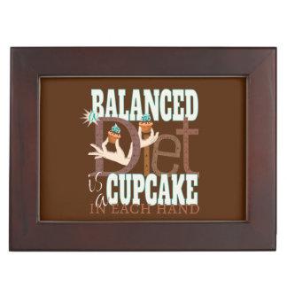 Cupcakes Balanced Diet - Healthy Eating Humor Keepsake Boxes