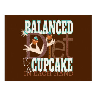 Cupcakes Balanced Diet - Healthy Eating Humor Postcard