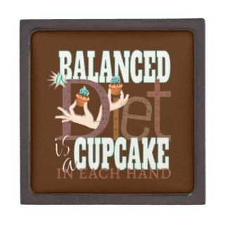 Cupcakes Balanced Diet - Healthy Eating Humor Premium Keepsake Box