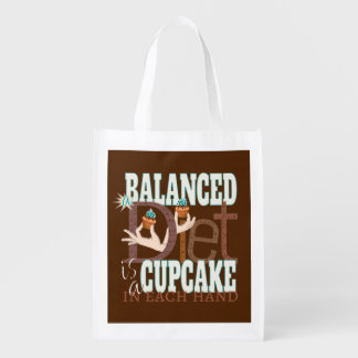 Cupcakes Balanced Diet - Healthy Eating Humor Reusable Grocery Bag