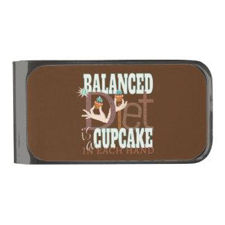 Cupcakes Balanced Diet - Healthy Eating Humor Gunmetal Finish Money Clip