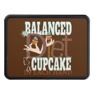 Cupcakes Balanced Diet - Healthy Eating Humor Trailer Hitch Cover
