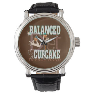 Cupcakes Balanced Diet - Healthy Eating Humor Wristwatches
