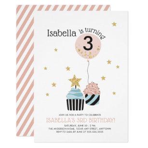 Cupcake birthday invitations zazzle cupcakes balloon faux glitter childs birthday invitation filmwisefo