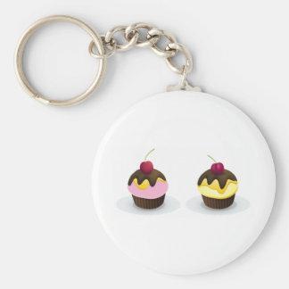 cupcakes basic round button keychain