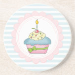 Cupcakes Blue Stripes with Pink Drink Coaster