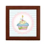 Cupcakes Blue Stripes with Pink Keepsake Box