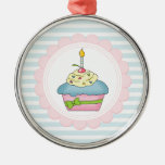 Cupcakes Blue Stripes with Pink Christmas Ornaments