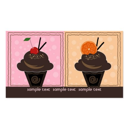 Luscious Chocolate Cupcakes Topped with a Cherry and Orange Cup Cakes Business Cards