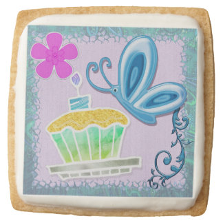 Cupcakes & Butterflies Whimsical BIRTHDAY Square Shortbread Cookie