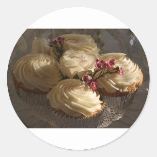 Cupcakes closeup round sticker