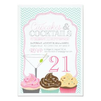 Cupcakes & Cocktails Adult Birthday Invitation