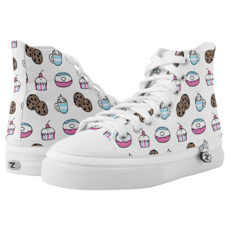 Cupcakes, Coffee, Cookies Fun Pattern High-Top Sneakers