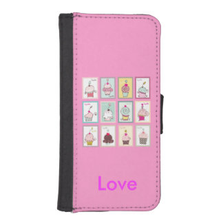 Cupcakes Collage Sweet Personalized Pink iPhone SE/5/5s Wallet