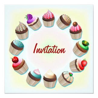 Cupcakes Colorful Circle Invitation