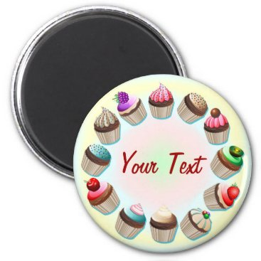 Coffee Themed Cupcakes Colorful Circle Magnet