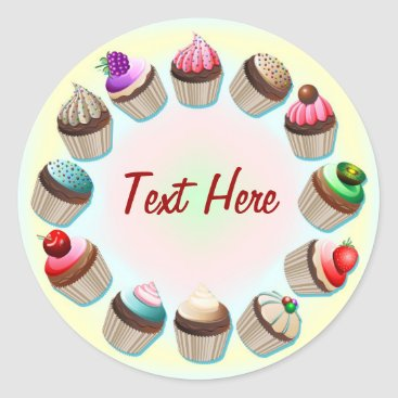 Coffee Themed Cupcakes Colorful Circle Sticker