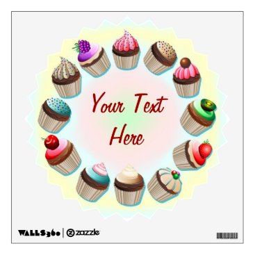Coffee Themed Cupcakes Colorful Circle Wall Decals